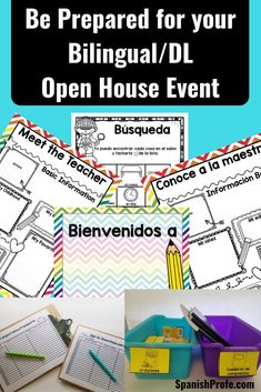 Bilingual, Dual Language and Spanish Immersion Teachers- Be prepared with activities, printables, ideas and organizational ideas for your open house, meet the teacher in Spanish or 'conoce a la maestra' event.