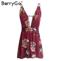 BerryGo Boho print sexy backless jumpsuit romper Summer sleeveless hollow out short playsuit Casual slim beach red overalls