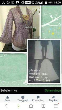 Shrink your URLs and get paid! Kebaya Lace, Kebaya Brokat, Batik Kebaya, Kebaya Dress, Dress Design Patterns, Clothing Patterns, Kebaya Kutu Baru Modern, Batik Muslim, Model Kebaya