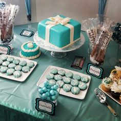 Tiffany Themed 1st Birthday Party ( sweets table, cupcakes, cake )
