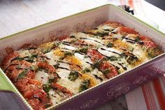 Caprese Casserole | Harvest from the garden and create this rich, savory meal. Toasted slices of seasoned bread make the base of this tomato and cheese casserole.