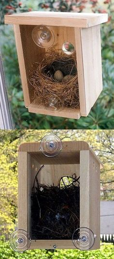 Amazing home attached to your window, so you can watch birds build their nest… #birdhouseideas