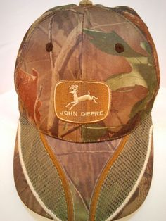 John Deere Camouflage Baseball Hat Velcro Back Green and Brown Leaves Mesh Brim #JohnDeere #BaseballCap