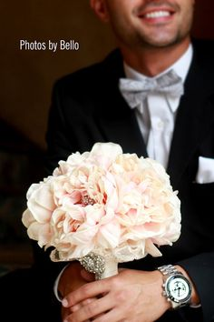 vintage inspired peony wedding bouquet with by TheCrystalFlower, $139.00