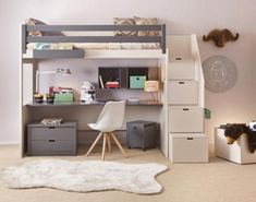 Asoral loft bed LOFT XL LISO with stairs, writing desk . Asoral loft bed LOFT XL LISO with stairs, desk, 4 storage drawers, height