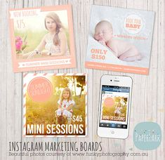 Instagram Marketing Board  Quick Hit Marketing by PaperLarkDesigns, $5.95 #paperlarkdesigns #instagram  #graphicdesign #templates #photographymarketing