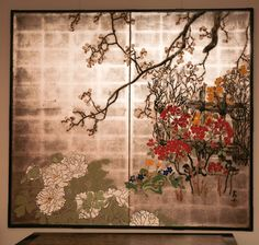 Japanese Screen: Summer Flowers on Silver | From a unique collection of antique and modern paintings at http://www.1stdibs.com/furniture/wall-decorations/paintings/