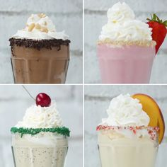 Thing Better Than A Milkshake Is A BOOZY Milkshake. You're Gonna Love These Four Delicious Recipes Spiked Milkshake 4 WaysSpiked Milkshake 4 Ways Dessert Drinks, Yummy Drinks, Yummy Food, Delicious Recipes, Milk Dessert, Recipe Tasty, No Bake Desserts, Easy Desserts, Dessert Recipes