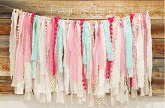Shabby Chic Scrap Fabric Banner Garland  White by pearlandjane