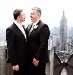 Top of the Rock LGBT Wedding with Empire State Building in the NY skyline - Ultimate USA Gay Weddings LGBT Wedding Planner in New York City