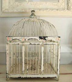 Bird Cage - this finish (incl. flowers) would look cool on a bureau