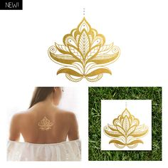 """4"""" x 4"""" henna inspired metallic temporary tattoo. Could be put on the back or on the wrist and combined with regular henna!"""