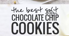These are THE BEST soft chocolate chip cookies! No chilling required. Just ultra thick, soft, classic chocolate chip cookies! Best Chocolate Chip Cookies Recipe, Chewy Sugar Cookies, Yummy Cookies, Great Desserts, Dessert Recipes, Chips, Starbucks Drinks, Soft Classic, Buns