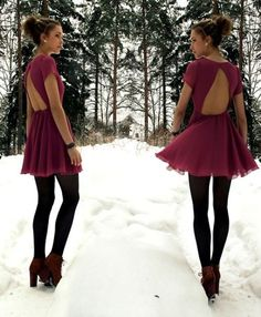 Dress with black tights.