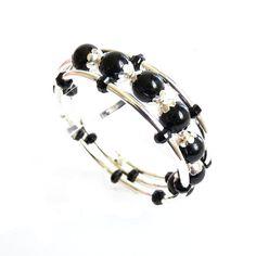 Black Tourmaline Silver Memory Wire Bracelet by AssiaDesigns, $40.00