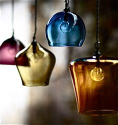 Romantic Interior Decorating with Handmade Colored Glass Lighting Fixtures from…