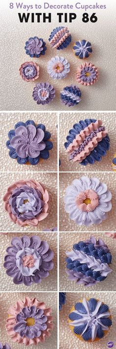 Learn 8 ways to decorate cupcakes using the Wilton ruffle decorating tip 86! Featuring a star-shaped end and a petal end, this tip is great for cake borders and shell borders. The original shape of the tip helps give these cupcake decorations added height and dimension. #cakedecorating #cakedecoratingtips