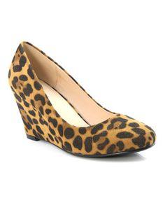 Tan Leopard Nine Wedge