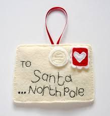 Custom list for Nicola - felt Christmas decorationsfelt Santa letter ornament-something like that would be cute, with a pocket in the back to make the current Santa letter in. Then hang it on the tree Christmas Projects, Felt Crafts, Holiday Crafts, Felt Projects, Felt Christmas Decorations, Felt Christmas Ornaments, Santa Ornaments, Christmas Snowman, Tree Decorations