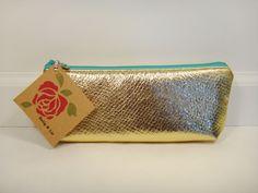 Gold Foil Leather Pencil Pouch Pencil Case Makeup by BallyandLis