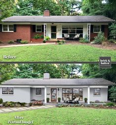 Brick House Exterior Discover 6 Home Makeovers: How to Copy the Look Ranch Exterior, Exterior Remodel, Reforma Exterior, Painted Brick Exteriors, Painted Brick Ranch, Painted White Brick House, Architecture Renovation, Modern Architecture, Pavilion Architecture