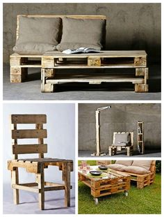 Furniture made from repurposed pallets by Probosc, a Spanish Furniture Company who mainly use pallets for their works. A nice collection of chair, stool, bench, coffee table and lamp made from pallet wood for a vintage interior.…