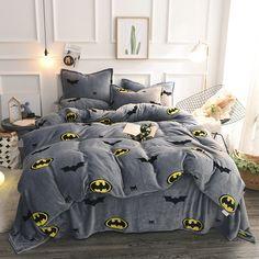 Grey Batman Flannel Duvet Cover Set Twin Queen King Autumn/Winter Fleece Bedspread For Children Cartoon Bed Sheets Pillow case