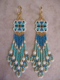 Seed Bead Beadwoven Earrings  Seafoam Green/Turquoise by pattimacs, $21.00