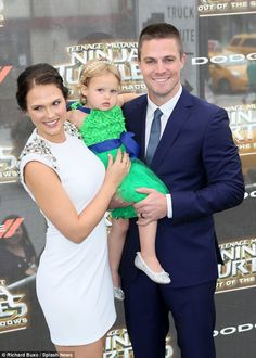 Aww: The actor was joined by his wife Cassandra Jean and their little girl, Mavi Amell...