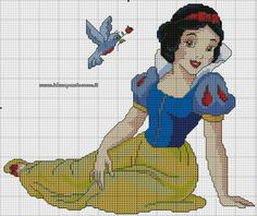 Snow White 1 of 2 Cross Stitch Fairy, Cross Stitch Pillow, Cross Stitch Heart, Disney Stitch, Disney Cross Stitch Patterns, Cross Stitch Designs, Cross Stitching, Cross Stitch Embroidery, Broderie Bargello