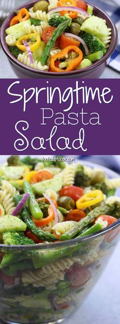 Springtime Pasta Salad is an easy, light, refreshing and yet such a satisfying recipe with a simple lemon vinaigrette, olives and fresh veggies. It is the perfect make a ahead dish for company, potlucks or cold lunches during the week. #pastasalad #easy #healthy #veggies https://www.thefedupfoodie.com