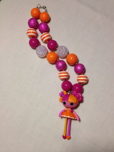 Pink and Orange Lalaloopsy Chunky Bead Necklace by WherePucaPlays, $23.00