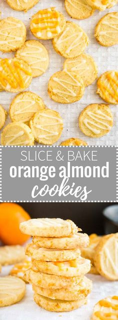 These easy Slice & Bake Orange Almond Cookies are soft in the center and crunchy on the edges! Best Cookie Recipes, Best Dessert Recipes, Easy Desserts, Sweet Recipes, Baking Recipes, Delicious Desserts, Flour Recipes, Kitchen Recipes, Vegan Desserts