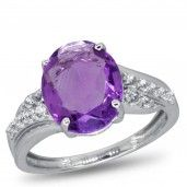 Royal Jewels Collection, Amethyst and White Topaz Sterling Silver Ring