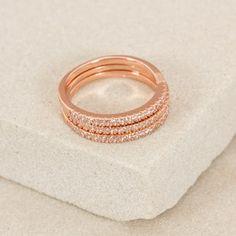 Three Stack Diamante Fine Rings