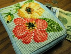 Orange Flower Needlepoint Coin Purse by OneCreativeFamily on Etsy