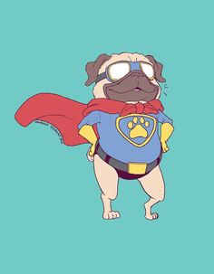 Super Pug Digital Print by maureencreatesshop on Etsy