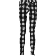 Rag & bone Plaid cotton-blend flannel skinny pants (1280 MAD) ❤ liked on Polyvore featuring pants, black, black skinny leg pants, black skinny trousers, skinny trousers, black trousers and tartan pants