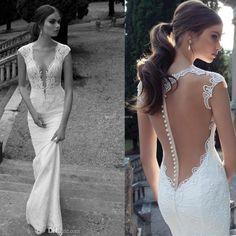 Bruidsjurk trouwjurk lage rug open rug, wedding dress low back, romantic wedding dress. Berta Bridal, 14-20.