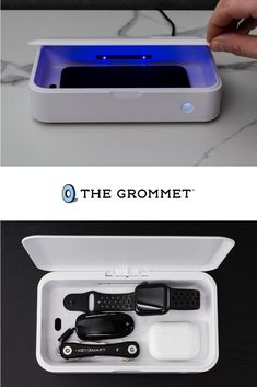 Worried about bacteria on your phone? This UV light sterilization box can kill up to 99.9% of germs in just five minutes. The CleanTray works twice as fast as other sterilizers and does the job on things like a smartphone, keys, AirPods, and more. It's rechargeable and portable, and has a lifespan of about 20,000 hours. Make sure your phone is always clean and ready to go! Verses For Cards, Cool Tech Gadgets, Grilling Gifts, Travel Workout, Cool Technology, Charging Cable, Cleaning Hacks, Keys, Smartphone