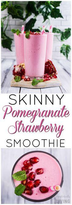 Skinny Pomegranate Strawberry Smoothie #skinny #smoothie #smoothierecipes #strawberry #pomegranate