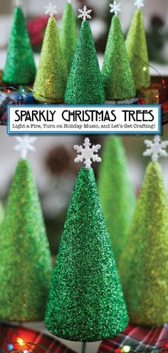 Deck the Halls! Smart School House created these gorgeous styrofoam Christmas trees that will sparkle beautifully in your home! They're so simple and fun to make, and they look stunning. Try them on your mantle or in a holiday tablescape for DIY decor that looks so good! Kids, teens, and adults will all love crafting these gorgeous Christmas trees, so light a fire, turn on some holiday music, and get crafting! Cone Christmas Trees, Christmas Colors, All Things Christmas, Christmas Time, Christmas Ideas, Christmas Recipes, Christmas Lights, Christmas Crafts For Adults, Christmas Tree Crafts