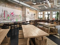 The Design Agency together with Ester Bruzkus Architects and WAF Architects have designed the Generator Hostel Berlin Mitte in Germany. Cafeteria Design, Interior Architecture, Interior And Exterior, Design Bar Restaurant, Restaurant Interiors, Industrial Restaurant, Hotel Interiors, Generator Hostel, Hostels