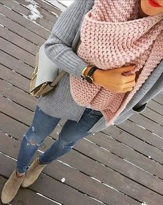 #Winter #Outfits / Pastel Pink Scarf + Gray Knit Cardigan