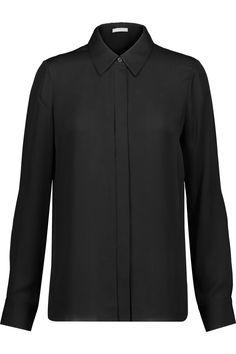 VINCE Silk Chiffon-Paneled Silk-Satin Shirt. #vince #cloth #shirt