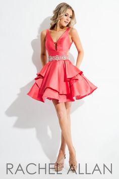 48897b640bcb Love this cocktail dress with a beaded belt.  Homecoming Coral Homecoming  Dresses