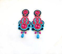 Long Clip On Earrings Colorful Soutache by GiSoutacheJewelry
