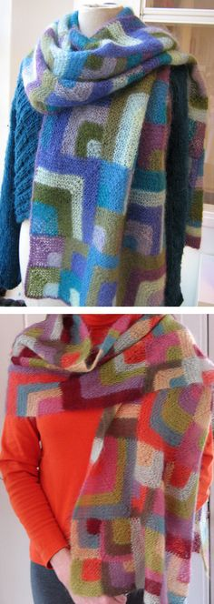 Free Knitting Pattern for Modern Quilt Wrap - This shawl or oversized scarf is created with the mitered-square method of color knitting, as effortless as working in stripes, but the results are far more impressive. Great use for stash or scrap yarn! Designed by Mags Kandis. Pictured projects by karinhoja and summerinatlanta.