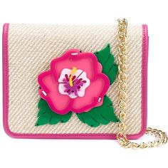 Yazbukey Embroidered Flower Patch Flap Closure Clutch Bag ($283) ❤ liked on Polyvore featuring bags, handbags, clutches, pink, pink flower purse, flower handbags, leather strap purse, pink leather purse and leather clutches
