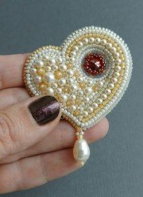 Bead embroidered heart pin